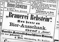 Erstes Zeitungs-Inserat im Rheintaler Boten vom 30. Mai 1891